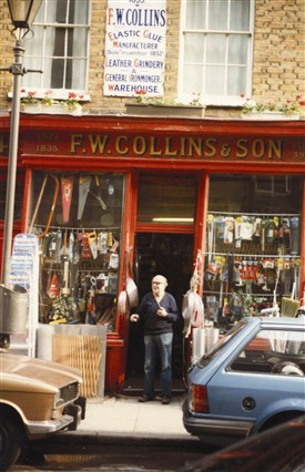 Photo:Fred Collins Outside his shop
