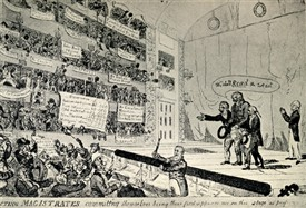 Photo:Magistrate's response to Price Riots. They had to deliver it from a stage to a chorus of disapproval. Satirical cartoon, reproduced in Old Theatre Days and Ways by W. J. Lawrence. 1809.