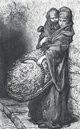 "Photo:The world of Eliza Doolittle, contemporary illustration of a Covent Garden flower-seller. Illustration by Gustave Dore in ""London, a Pilgrimage"""