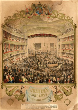 Photo:Print of M. Jullien conducting his orchestra at the Royal Opera House. 1864.
