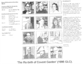 Photo:The back cover of 'The Rebirth of Covent Garden', with key campaigners' portraits, with David third row down on the right