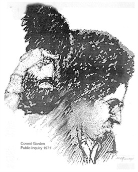 Photo:An artist's sketch of David from the Public Inquiry 1971