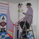 Photo: Illustrative image for the 'George Skeggs working on Seven Dials Club mural' page